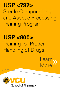 USP <797> Sterile Compounding and Aseptic Processing Training Program and USP <800> Training for Proper Handling of Drugs Banner
