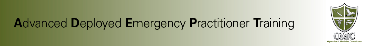 Advanced Deployed Emergency Practitioner Training - Module 9- Adult and Pediatric Field Pain Management Banner